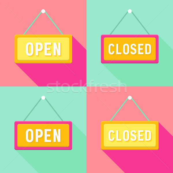 Yellow Pink Cyan Open and Closed Signs Set Stock photo © Anna_leni