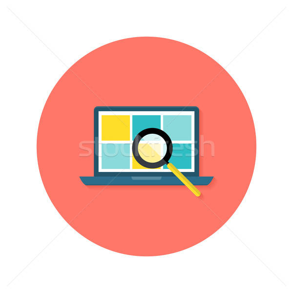 Internet Search Laptop with Magnifying Glass Circle Flat Icon Stock photo © Anna_leni