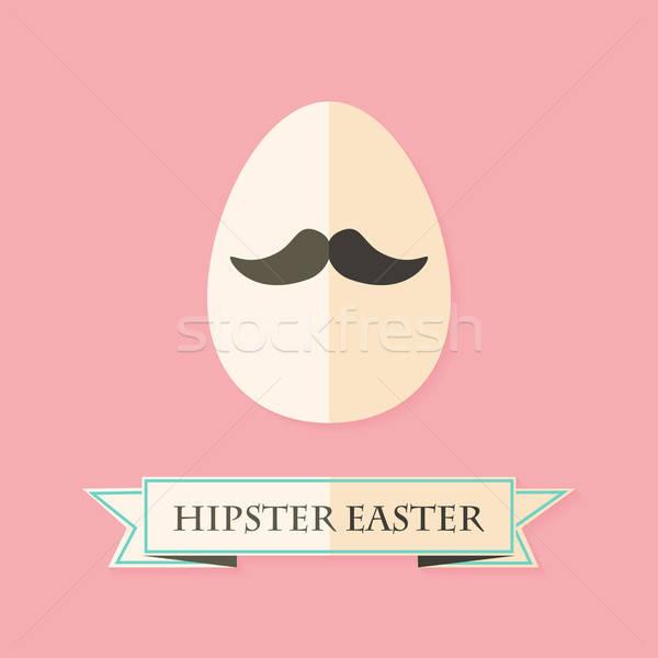 Páscoa cartão ovo bigode moda Foto stock © Anna_leni