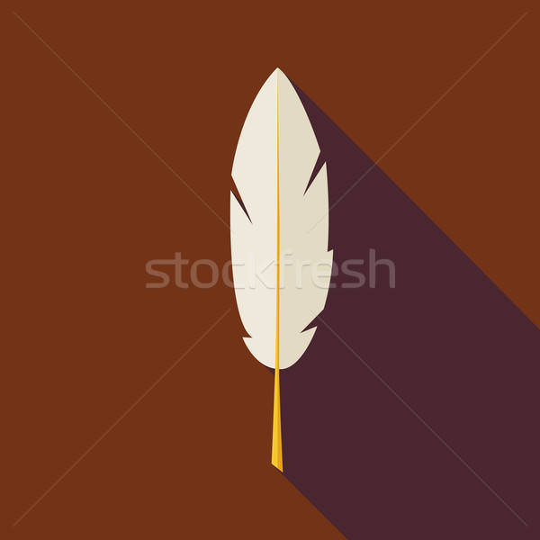 Flat Writing Feather Illustration with long Shadow Stock photo © Anna_leni