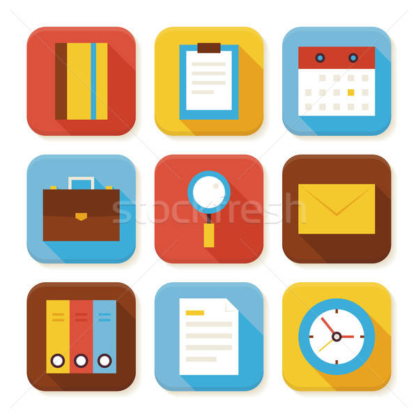 Flat Business and Office Squared App Icons Set Stock photo © Anna_leni