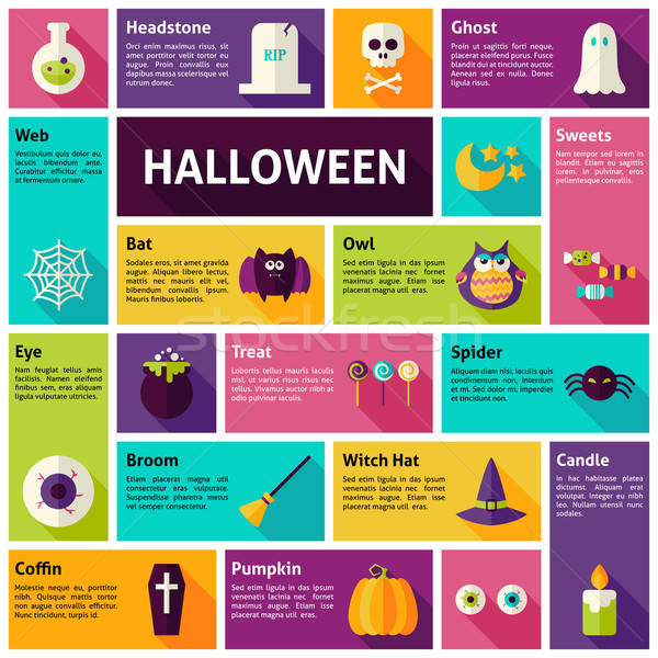 Stock photo: Flat Design Vector Icons Infographic Halloween Holiday Concept
