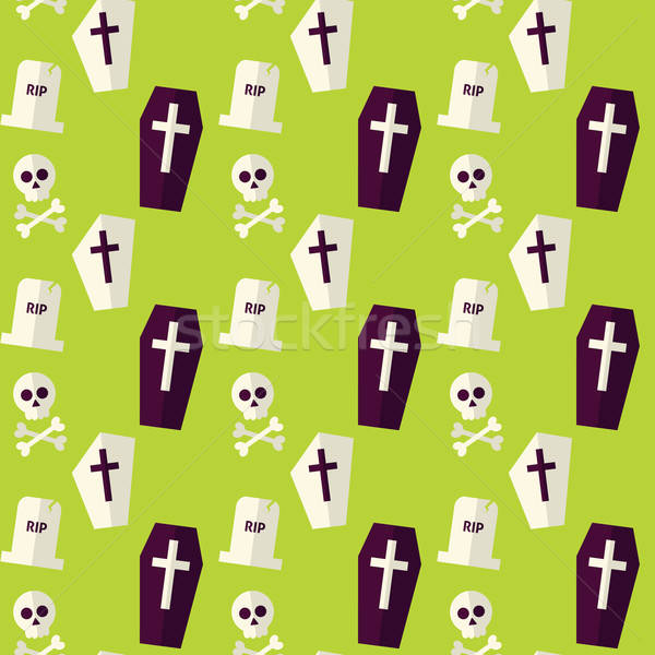 Vector Flat Seamless Death Halloween Pattern  Stock photo © Anna_leni
