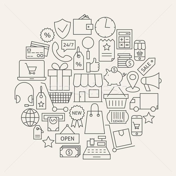 Shopping and E-commerce Line Icons Set Circular Shaped Stock photo © Anna_leni