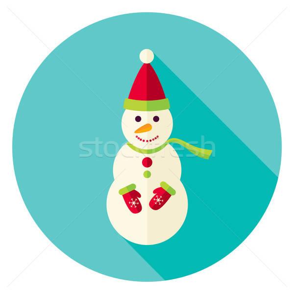 дизайна снеговик шарф круга икона долго Сток-фото © Anna_leni