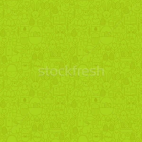 Ince hat iyi paskalyalar yeşil vektör Stok fotoğraf © Anna_leni