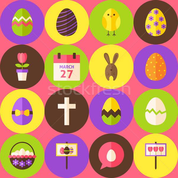 Vektor rózsaszín kellemes húsvétot végtelen minta körök terv Stock fotó © Anna_leni