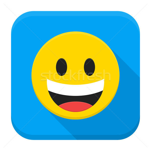 Laughing Yellow Smiley Face Flat App Icon Stock photo © Anna_leni