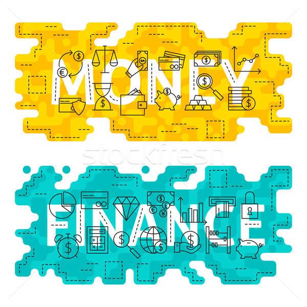 деньги Финансы тонкий линия банковской Сток-фото © Anna_leni