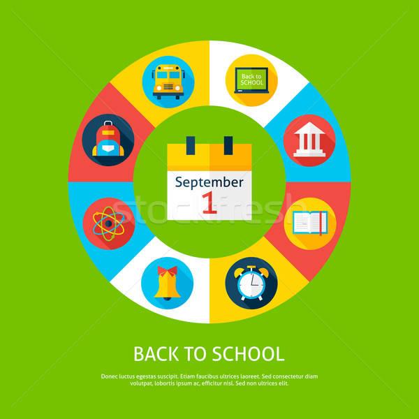 Terug naar school onderwijs wetenschap infographics cirkel Stockfoto © Anna_leni