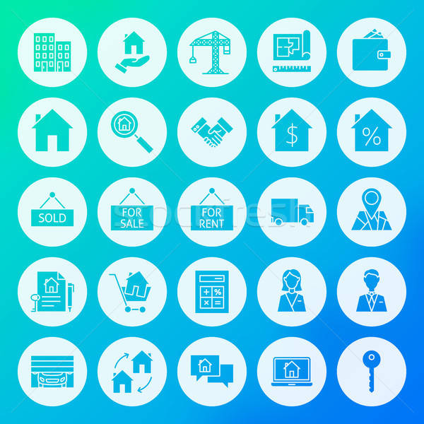 Stock photo: Real Estate Circle Solid Icons