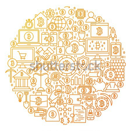Stock photo: Cryptocurrency Line Icon Circle Concept