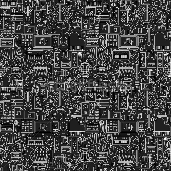 Music Dark Line Seamless Pattern Stock photo © Anna_leni