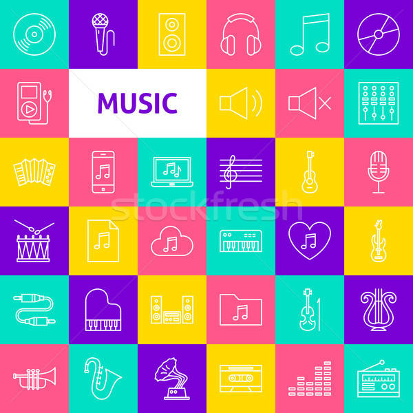 Stockfoto: Vector · muziek · lijn · iconen · dun · schets