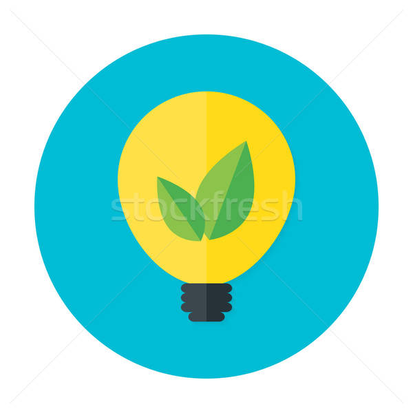 Eco idea flat circle icon Stock photo © Anna_leni