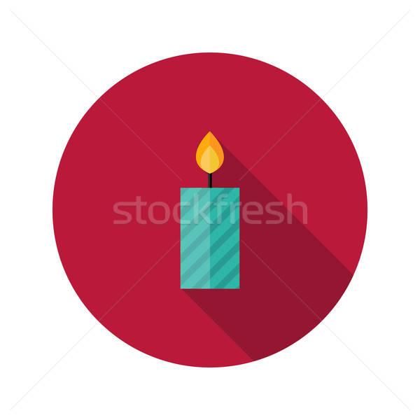 Christmas Stripped Candle Flat Icon Stock photo © Anna_leni