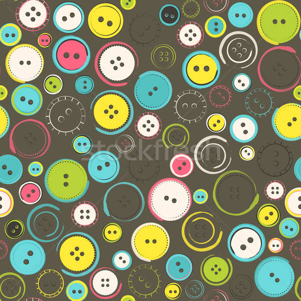 Seamless Pattern with Decorative Sewing Buttons over Brown Stock photo © Anna_leni