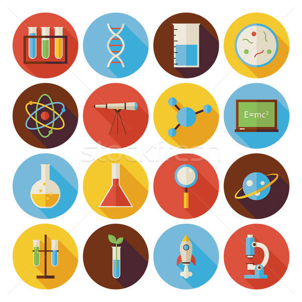 Flat Science and Education Circle Icons Set with long Shadow Stock photo © Anna_leni