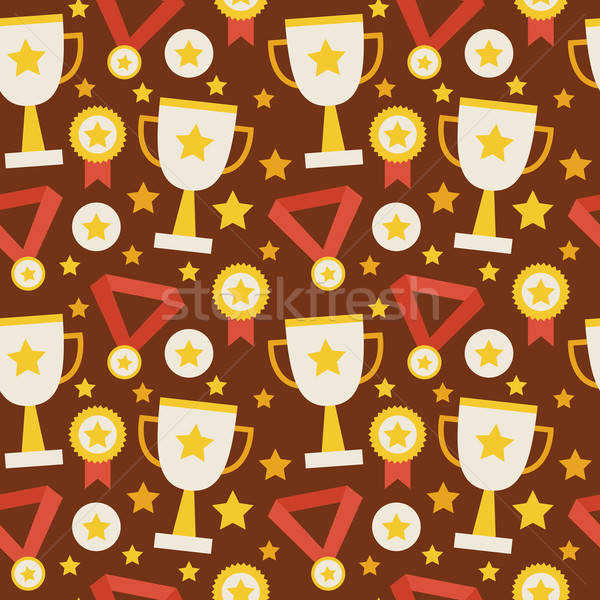 Flat Vector Seamless Pattern Sport Competition Trophy Winning wi Stock photo © Anna_leni