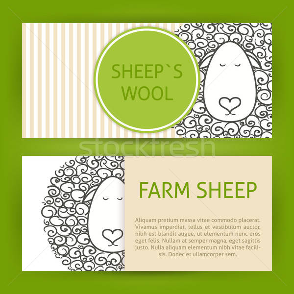 Farm Sheep Fool Concept Hand Drawn Style Vector Template Banners Stock photo © Anna_leni