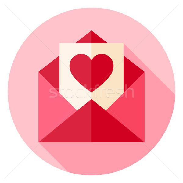 Valentijn dag liefde briefkaart envelop cirkel Stockfoto © Anna_leni