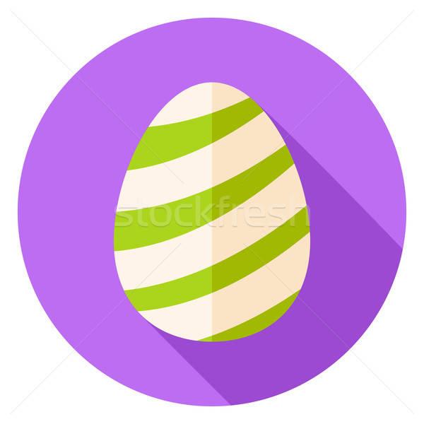 Easter Egg with Striped Decor Circle Icon Stock photo © Anna_leni