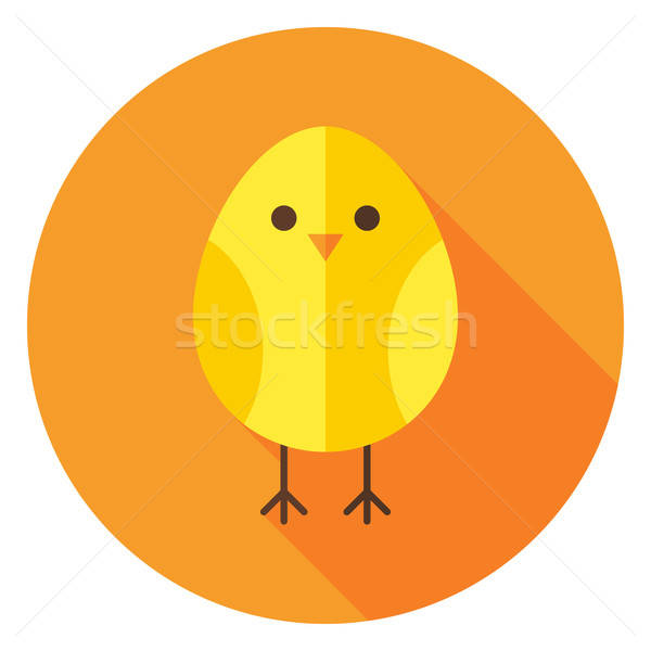 Yellow Chicken Circle Icon with long Shadow Stock photo © Anna_leni