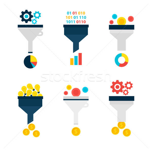 Business Sales Funnel Flat Objects Set isolated over White Stock photo © Anna_leni
