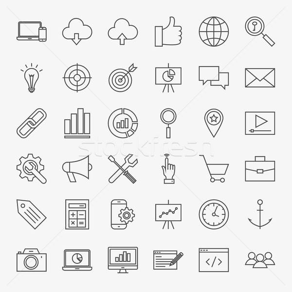 Stock photo: SEO Line Icons Set