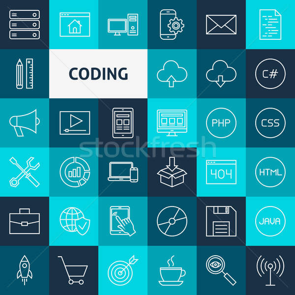 Vector Line Coding Icons Stock photo © Anna_leni