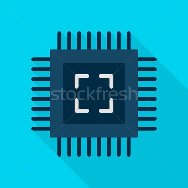 Számítógép chip ikon stílus tétel hosszú Stock fotó © Anna_leni