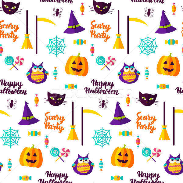 Scary Halloween Party Seamless Pattern Stock photo © Anna_leni