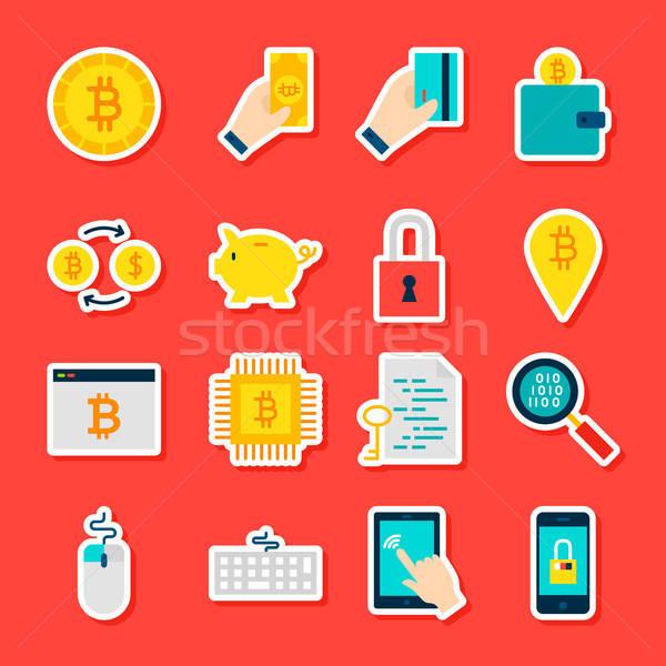 Bitcoin stile raccolta finanziaria simboli Foto d'archivio © Anna_leni