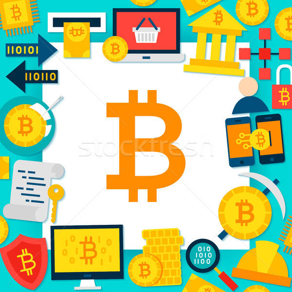 Bitcoin papier modèle style affaires argent Photo stock © Anna_leni