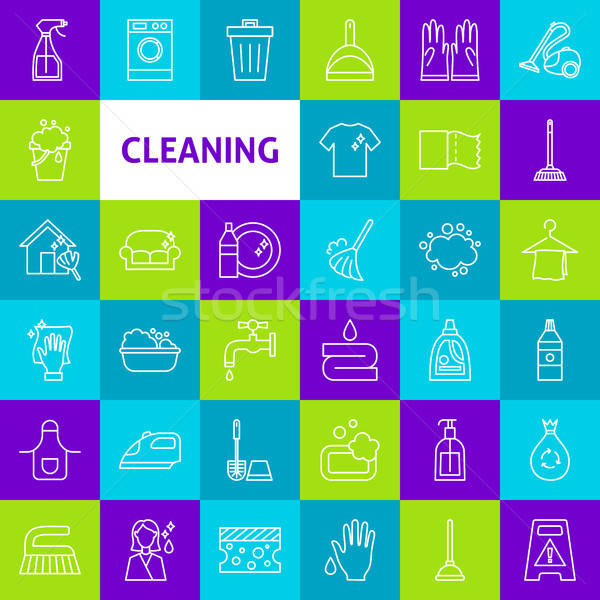 Stock photo: Vector Cleaning Line Icons