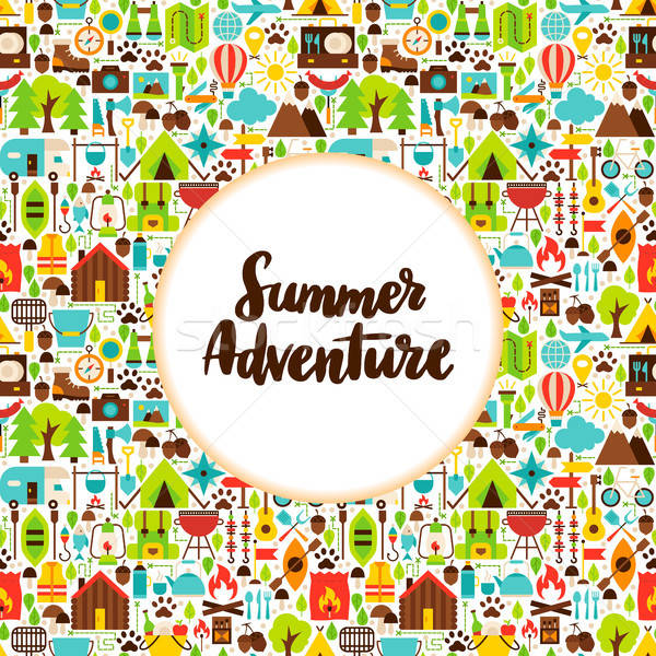 Flat Summer Adventure Greeting Stock photo © Anna_leni