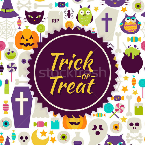 Flat Vector Trick or Treat Halloween Background Stock photo © Anna_leni