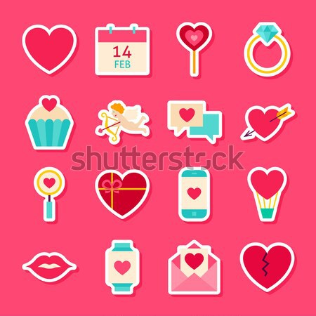 Love Valentine Day Square App Icons Set Stock photo © Anna_leni