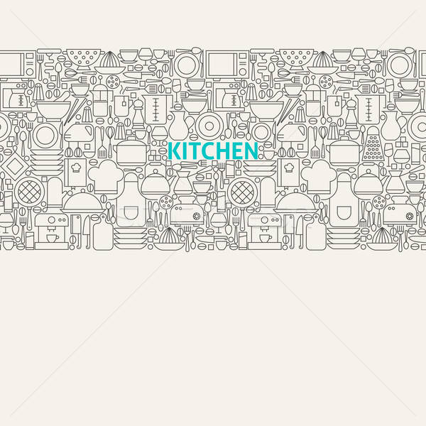 Kitchen Utensils Line Art Seamless Web Banner Stock photo © Anna_leni