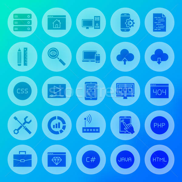 Coding Solid Circle Icons Stock photo © Anna_leni