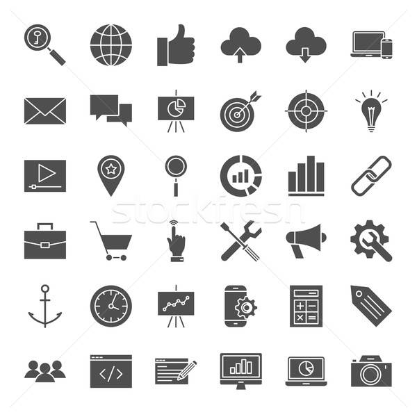 Seo solide web icons vector collectie website Stockfoto © Anna_leni