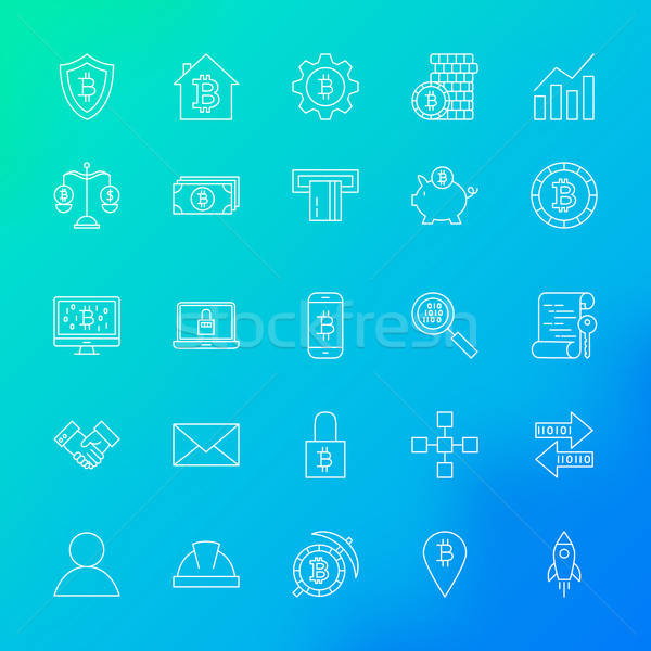 Cryptocurrency Line Icons Stock photo © Anna_leni
