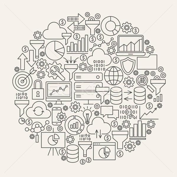 Adat szűrő vonal ikonok kör üzlet Stock fotó © Anna_leni