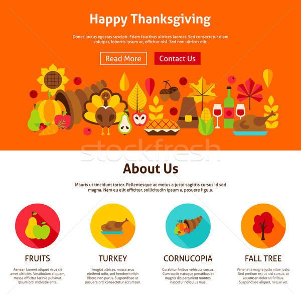 веб-дизайна счастливым благодарение сайт баннер осень Сток-фото © Anna_leni