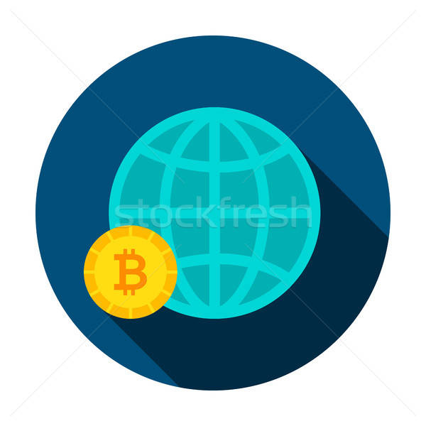 Stock photo: Bitcoin Global Circle Icon