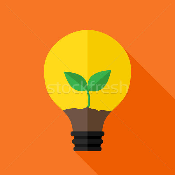 Growing plant inside idea lamp Stock photo © Anna_leni