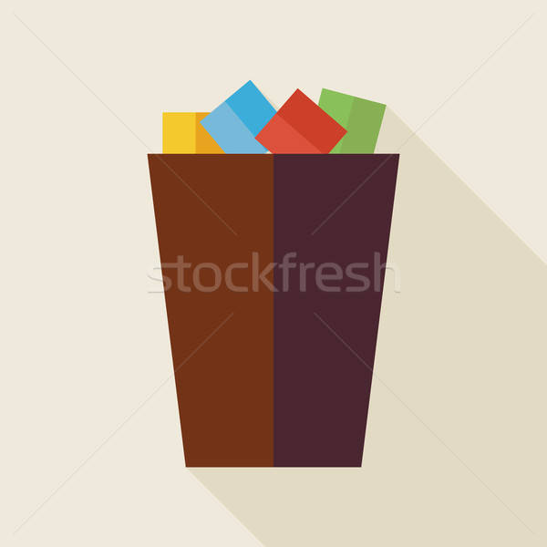Flat Business Office Trash Bucket Illustration with long Shadow Stock photo © Anna_leni