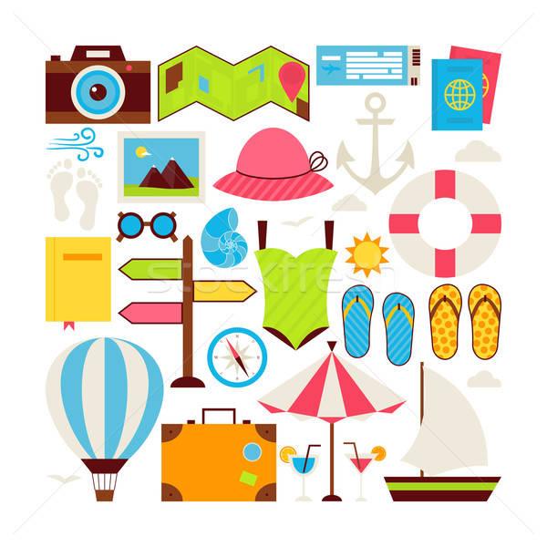 Foto stock: Estilo · vetor · coleção · férias · de · verão · viajar · objetos