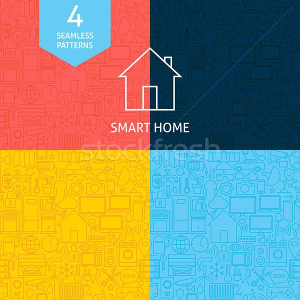 Dun lijn kunst home technologie patroon Stockfoto © Anna_leni