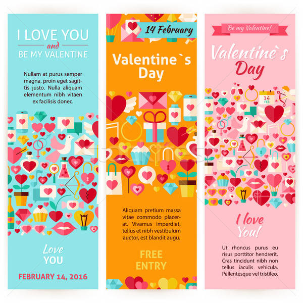 valentine day holiday vector invitation vertical flyer set vector